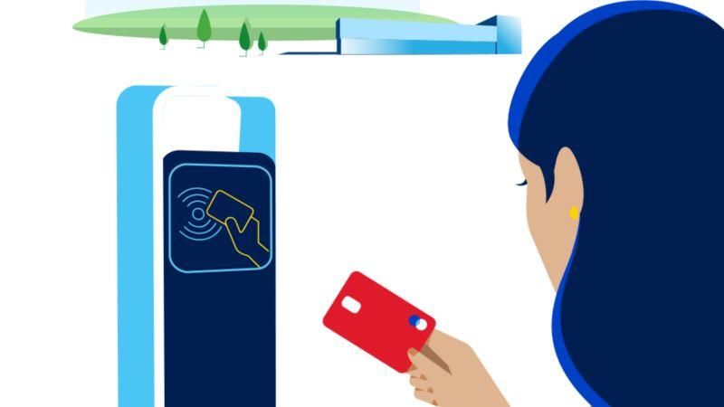 Colonnina di ricarica che consente il pagamento con carta di ricarica
