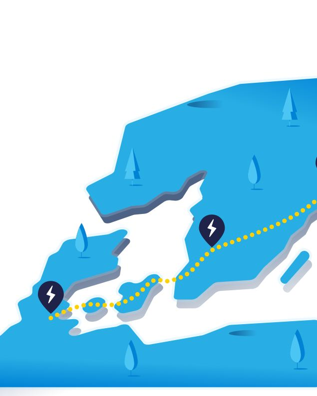 Map showing a long route with charging stations along the way
