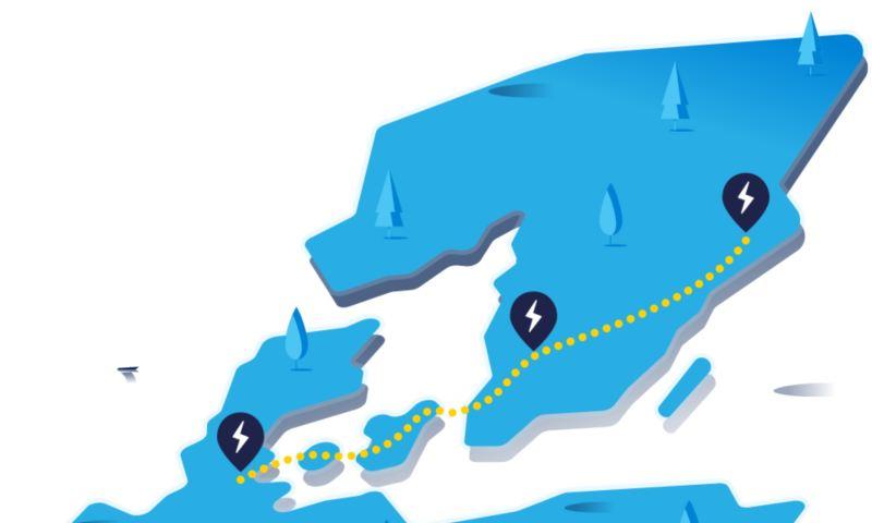 Mappa con percorso lungo e stazioni di ricarica sulla tratta