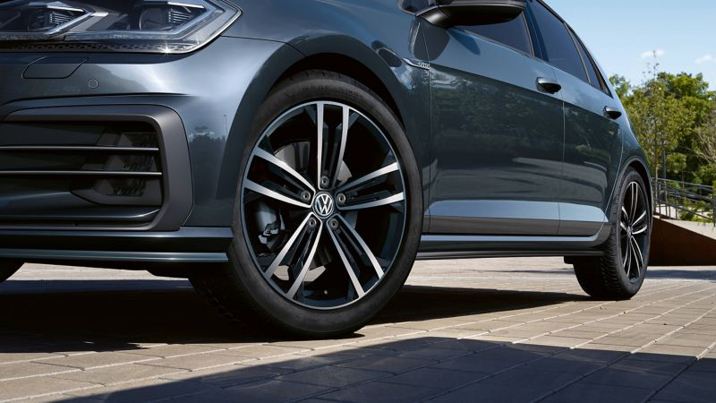 A wheel of a Volkswagen car
