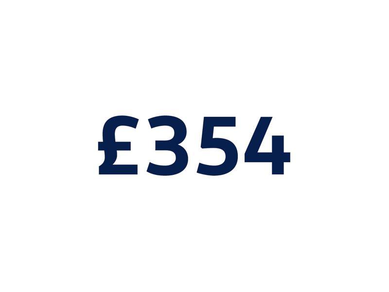 £354 on white background