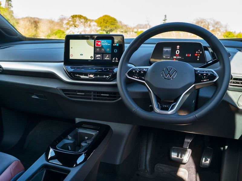Interior of a VW ID.4 showing sat nav on the infotainment screen