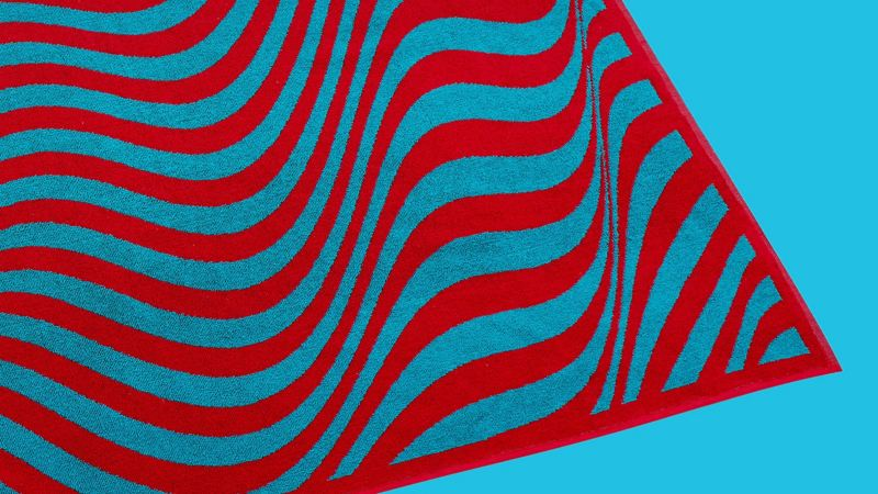 A blue and red striped ID collection towel