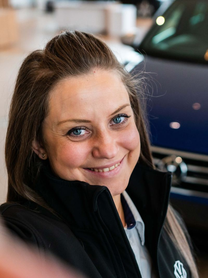 A selfie of a VW retailer employee