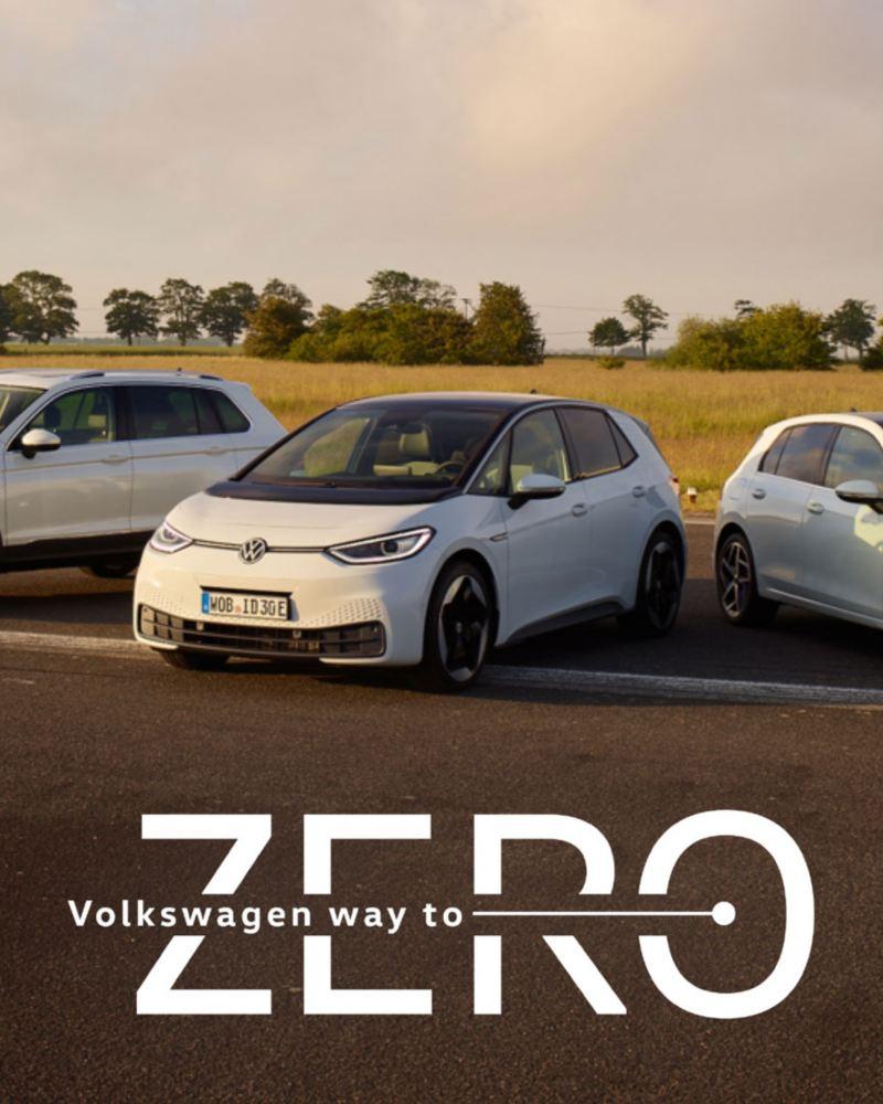 VW Volkswagen Tiguan eHybrid, ID.3 og Golf eHybrid sett forfra