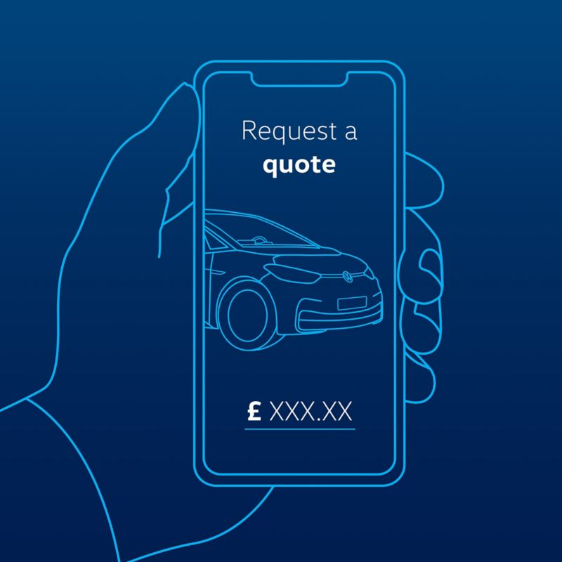 An illustration of a hand holding a smart phone which is displaying a quote on the screen