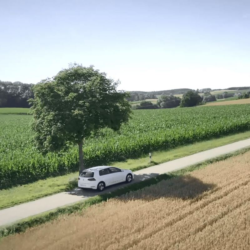 An electric car on a rural road