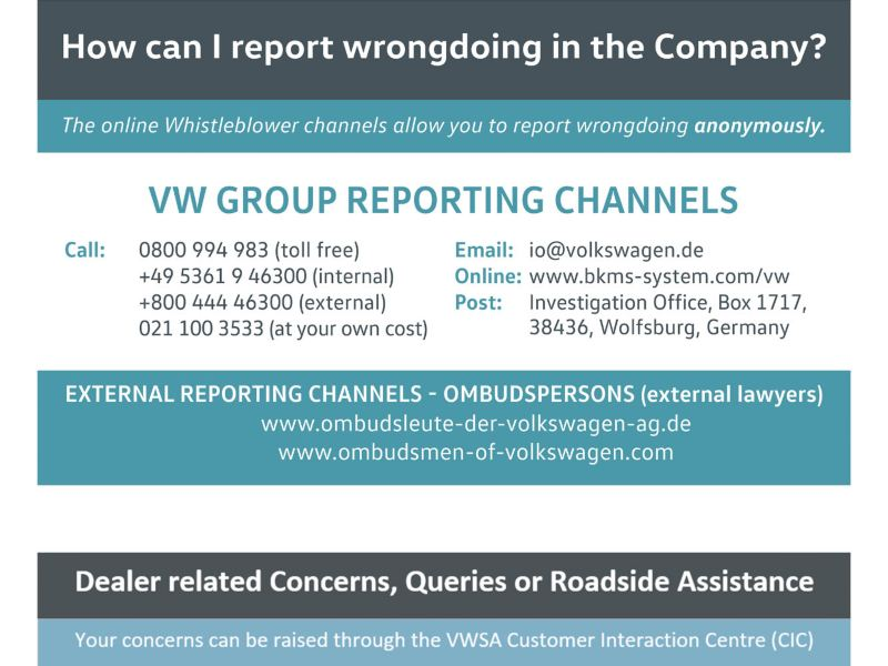 Report wrong doing