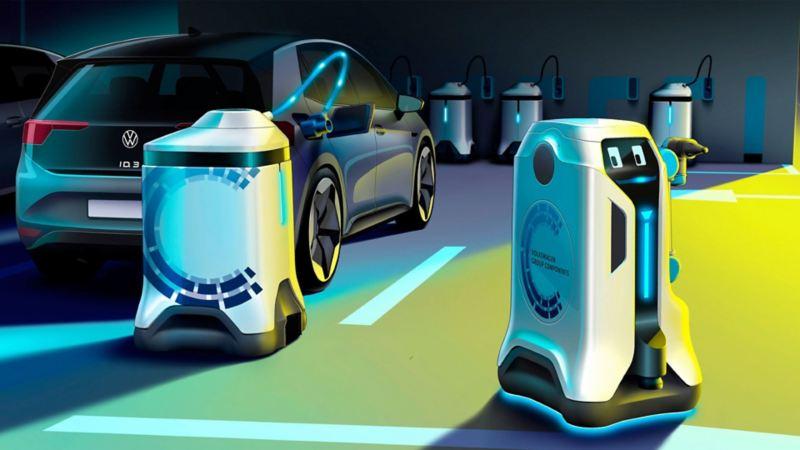 Imagen de diversos robots de carga eléctrica en acción creados por Volkswagen