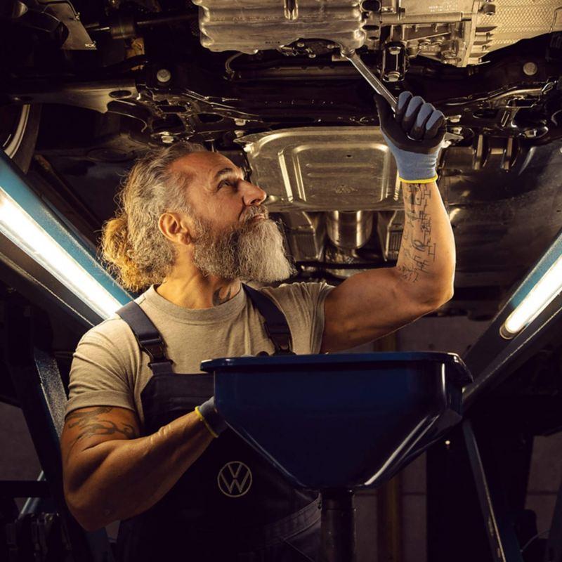 Technician working on a van