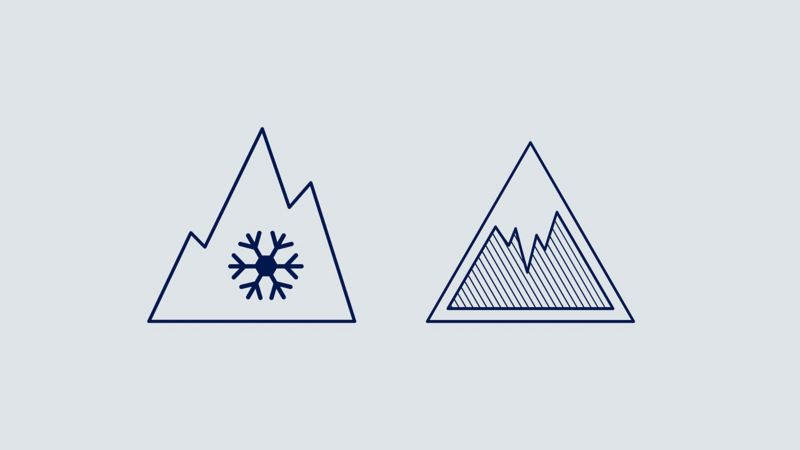 Illustration showing the ice and snow grip icons– Volkswagen tyres