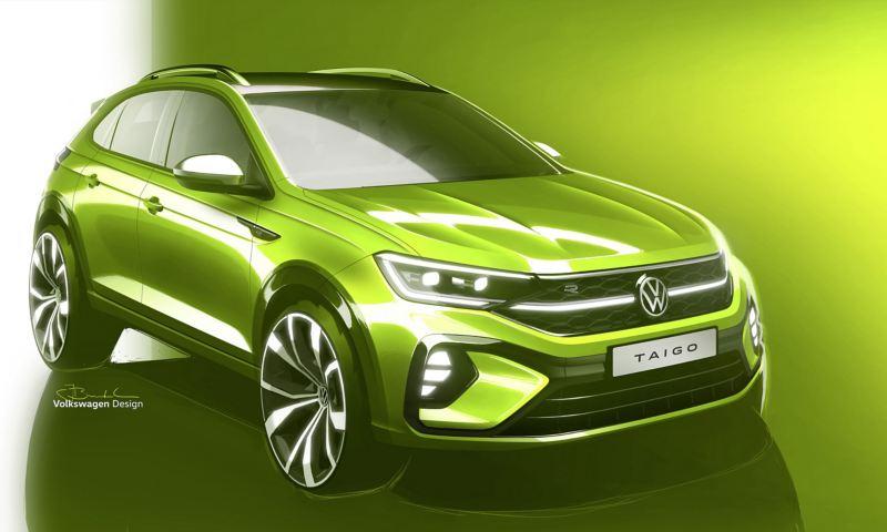 Skissbild av kommande Volkswagen Taigo