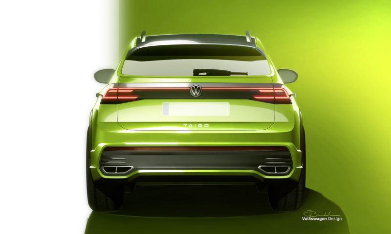 Skissbild av kommande Volkswagen Taigo, sedd bakifrån