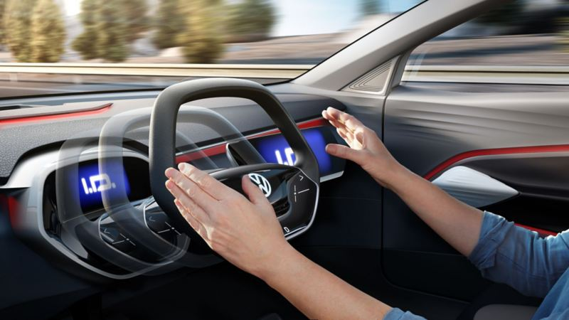 Illustration from the cockpit of highly automated driving with a Volkswagen