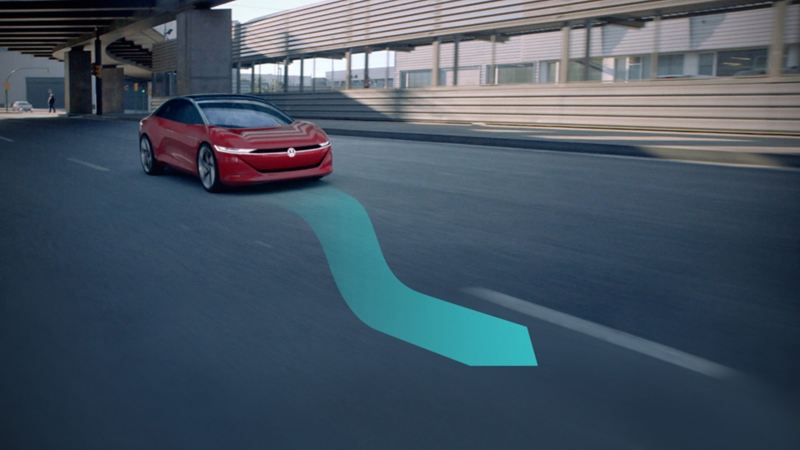 Illustration of partially automated driving with a Volkswagen