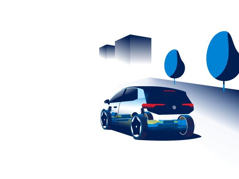 Illustrazione di Volkswagen ID.3 vista posteriormente con evidenziate alcune delle sue componenti tecniche.