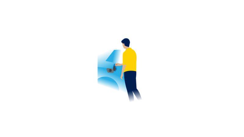 A tampa de carregamento do automóvel elétrico aberta