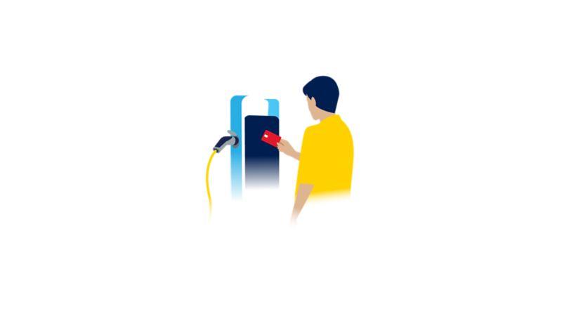 Autenticação no posto de carregamento com um cartão