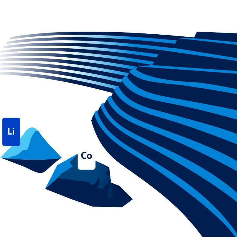 illustration av litium och kobolt