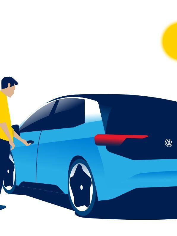 Ein Mann öffnet die Tür des VW ID.3