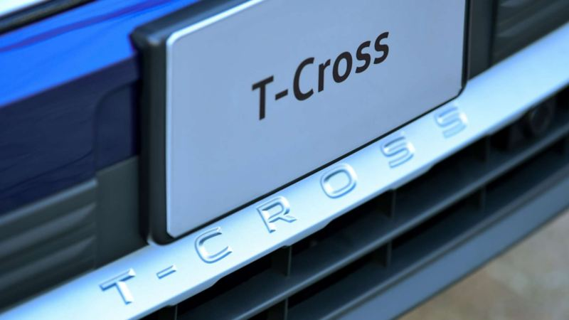 Imagen de detalle del exterior de T-Cross, camioneta SUV que puedes comprar entre dos personas.