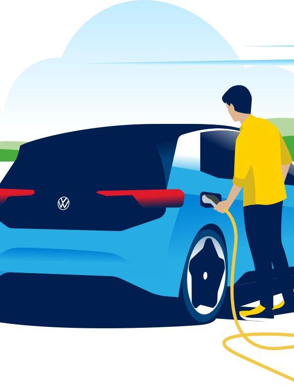 Frau lädt ihr Elektrofahrzeug