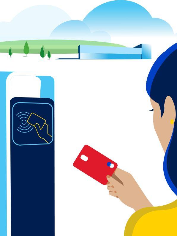 Ponto de carregamento de carros elétricos onde uma pessoa faz o pagamento com cartão de carregamento
