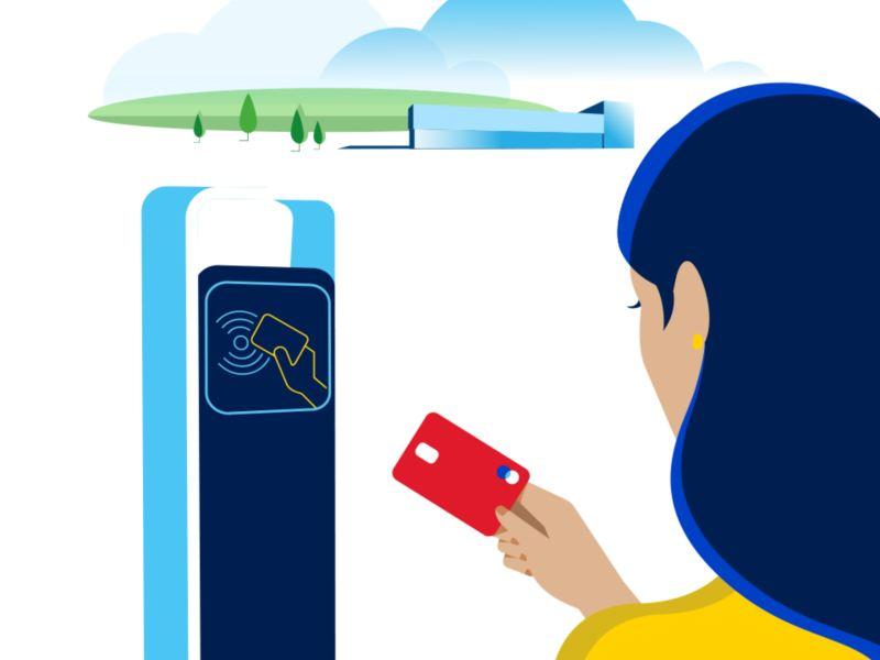 Stacja ładowania, na której można płacić kartą na ładowanie