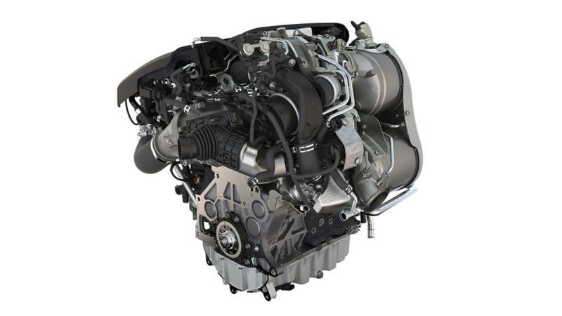Schematyczne przedstawienie silnika Volkswagena z turbosprężarką