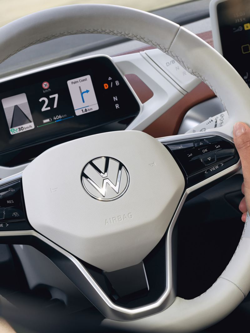 The digital cockpit and steering wheel of an ID.