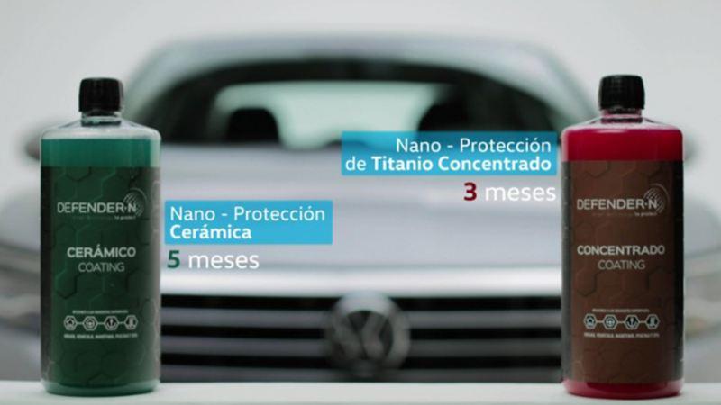 Cuidado de pintura con protección cerámica y titanio concentrado en talleres de Servicio VW