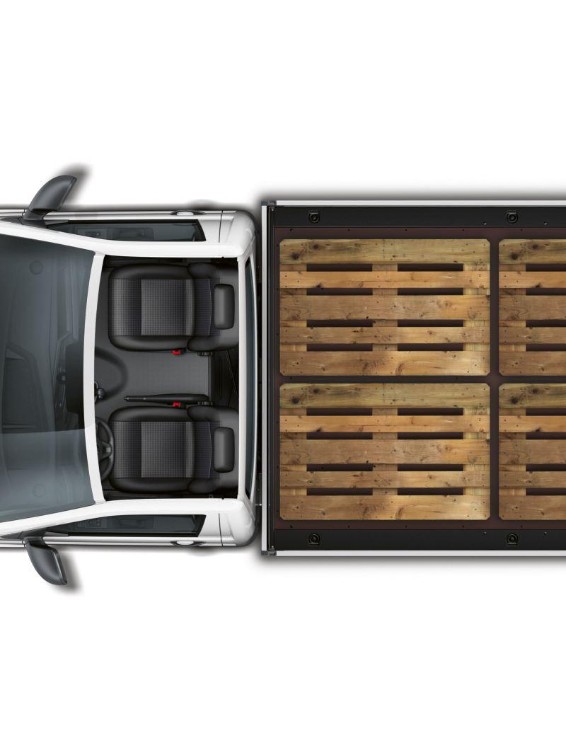 Na powierzchni ładunkowej Volkswagena Transportera 6.1 Skrzyniowego mogą się zmieścić obok siebie cztery europalety.