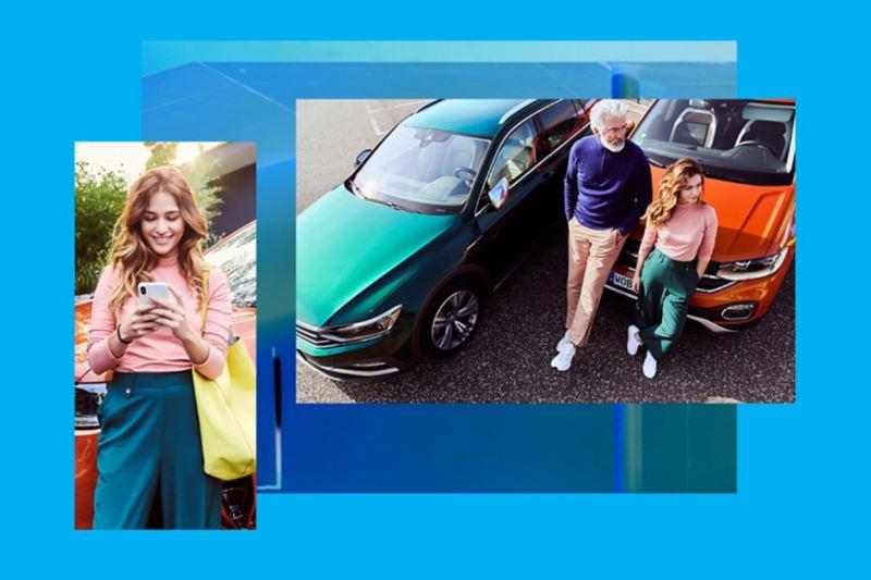 Composición de dos imágenes, una chica con un móvil y una pareja vista desde arriba junto a dos Volkswagen
