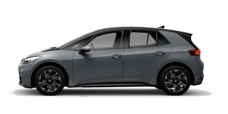 Vista lateral de un Volkswagen ID.3 Pro Peformance gris