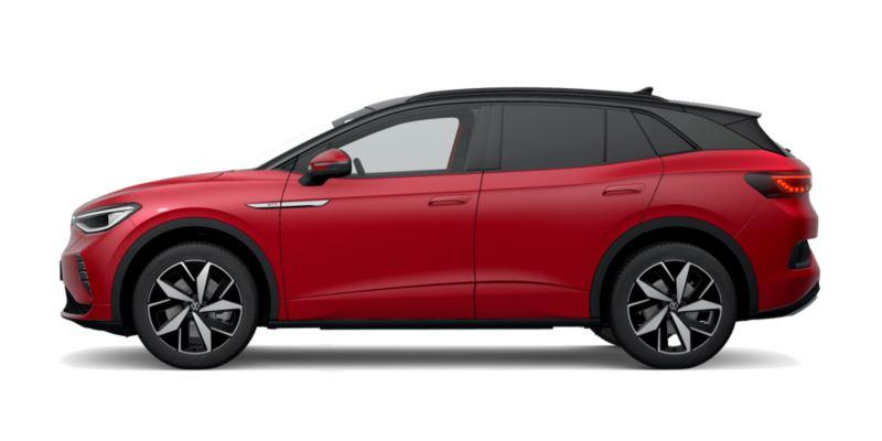 Vista lateral de un Volkswagen ID.4 GTX rojo
