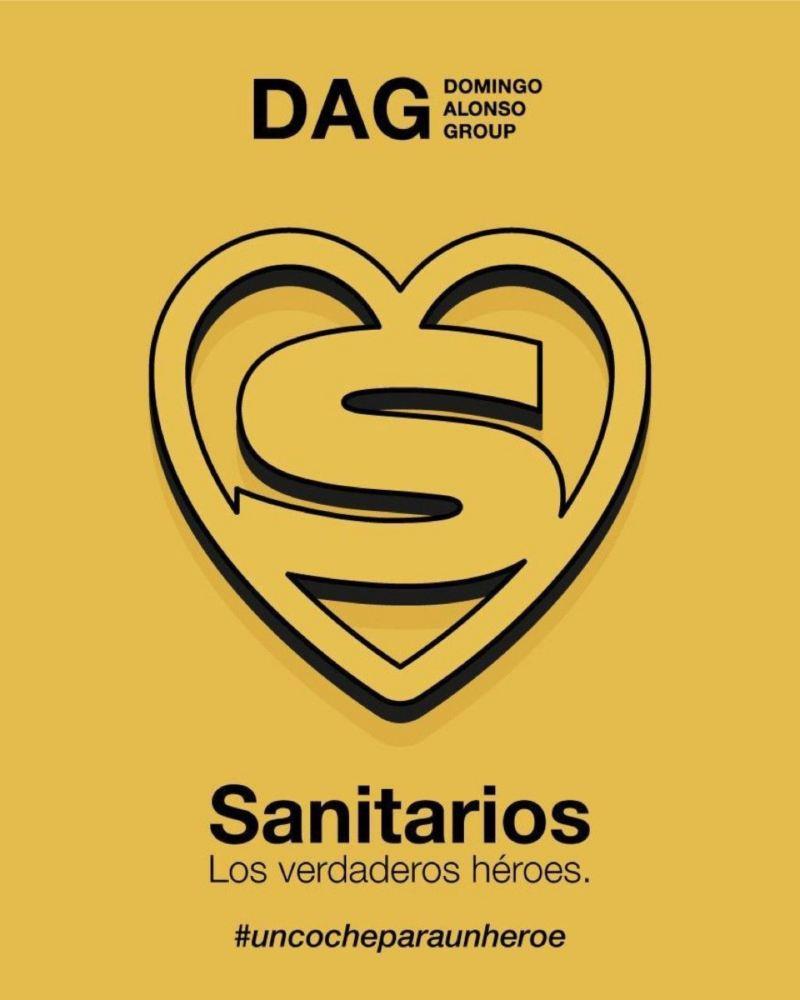 Logotipo sobre amarillo de la campaña de apoyo a los sanitarios de Volkswagen Canarias