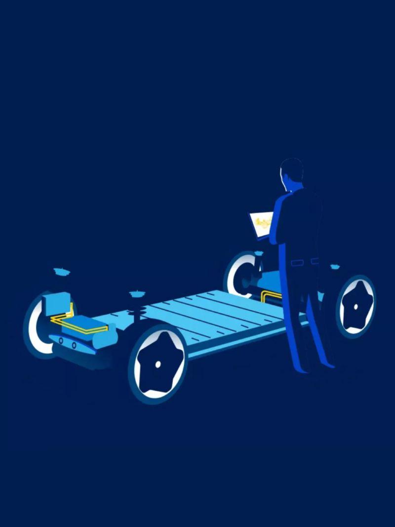 Gráfico en azul de un hombre frente a una plataforma MEB de Volkswagen