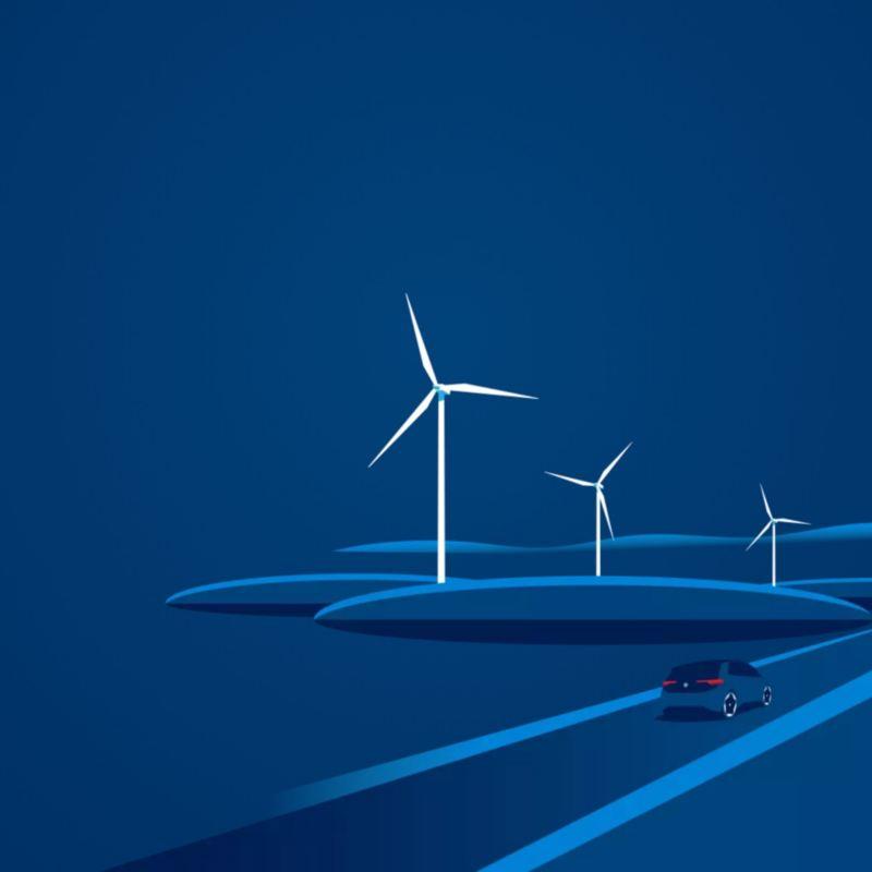 Ilustración en azul de un Volkswagen eléctrico delante de unos aerogeneradores