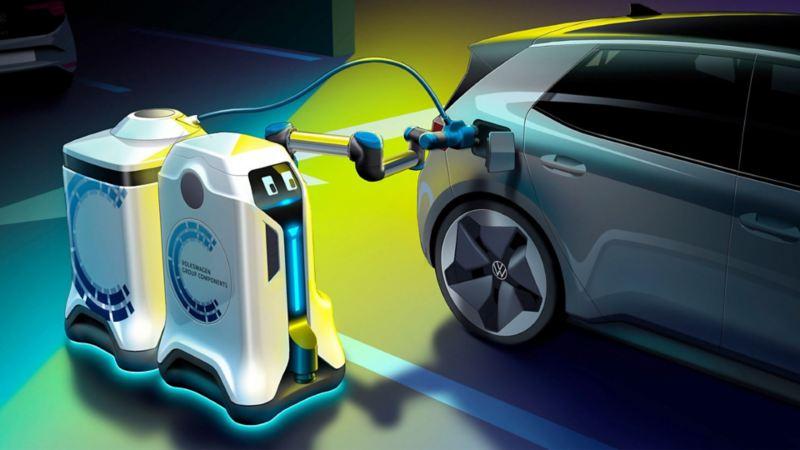 Imagen de la unidad de carga eléctrica creada por VW para autos eléctricos