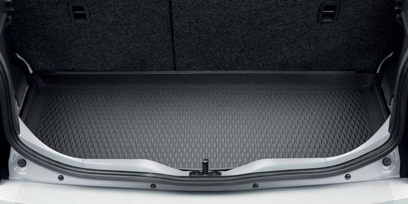 Dettaglio dell'inserto bagagliaio originale Volkswagen, montato su up!.