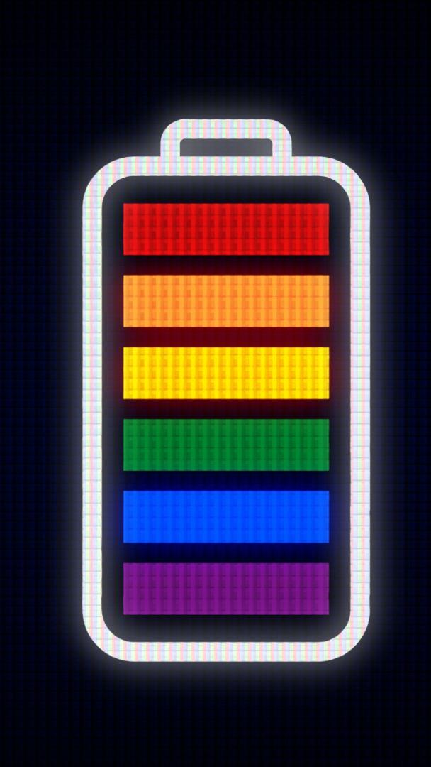 Imagen de batería con los seis colores de la bandera del orgullo LGBT.