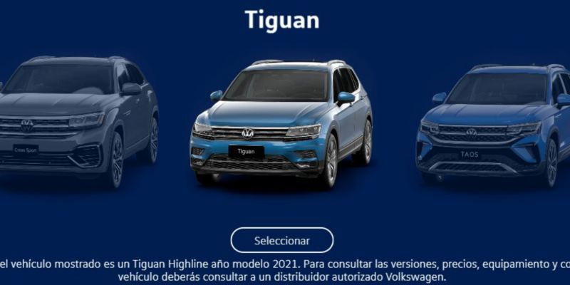 Descubre nuestros suvs Tiguan, Taos y Cross Sport a través de Virtual Studio