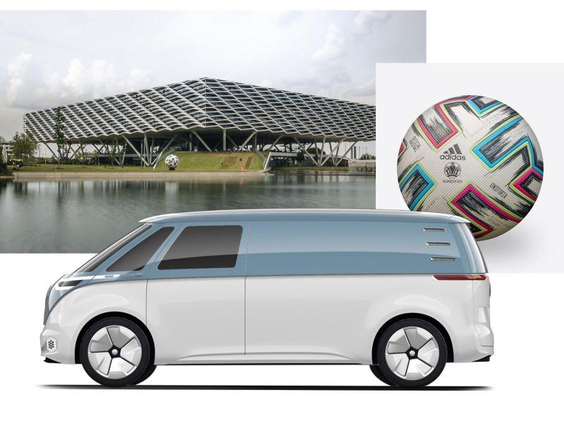 Een fotogalerij met de ID. Buzz Cargo, het Adidas hoofdkwartier in Herzogenaurach en een UEFA EURO 2020 bal.