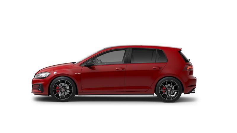 Imagen exterior de carro VW Golf GTI 2021 en color rojo tornado