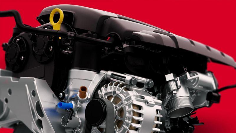 Vista lateral del motor de un auto volkswagen