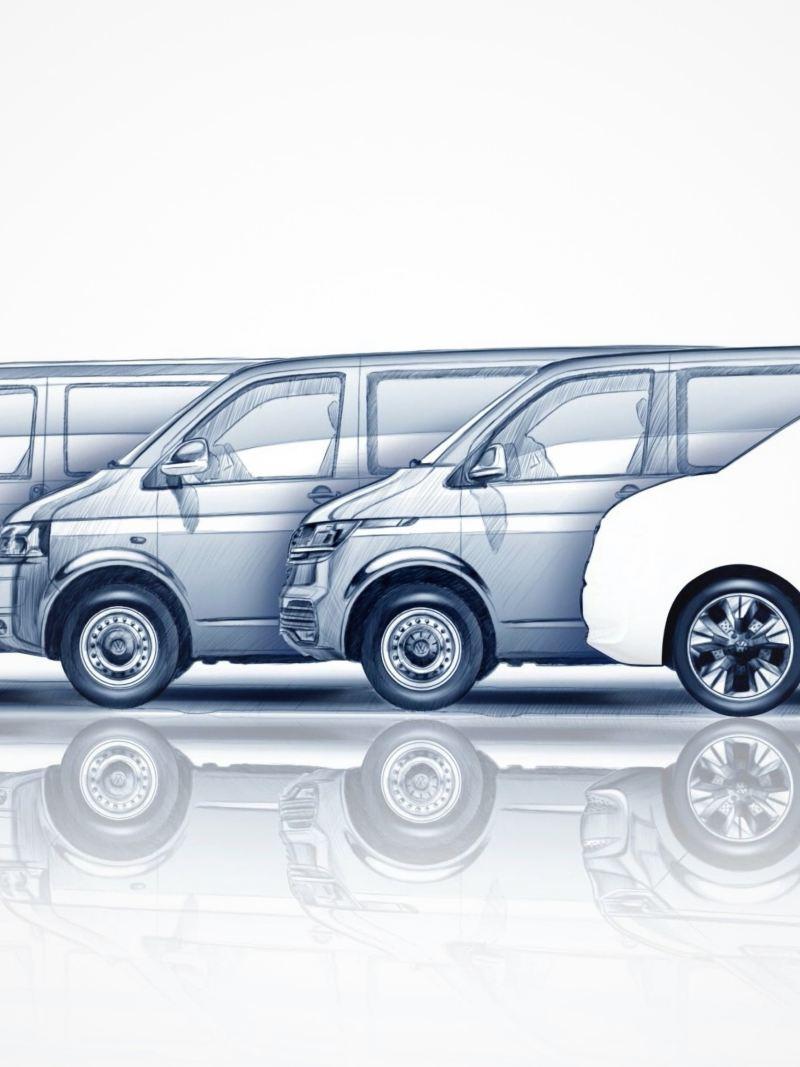 Bildet viser designskisser av utviklingen av Volkswagen Multivan frem til i dag