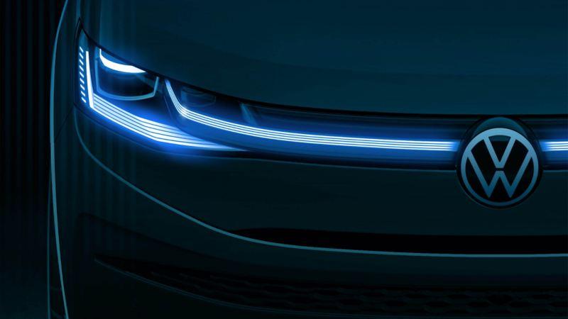 Une esquisse du design du nouveau Volkswagen Multivan vu de face.