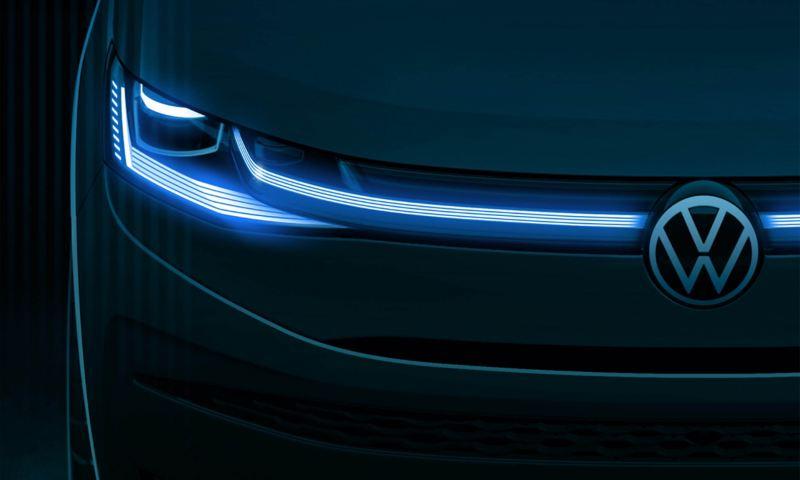 Uno schizzo del design del nuovo Volkswagen Multivan visto dal davanti.