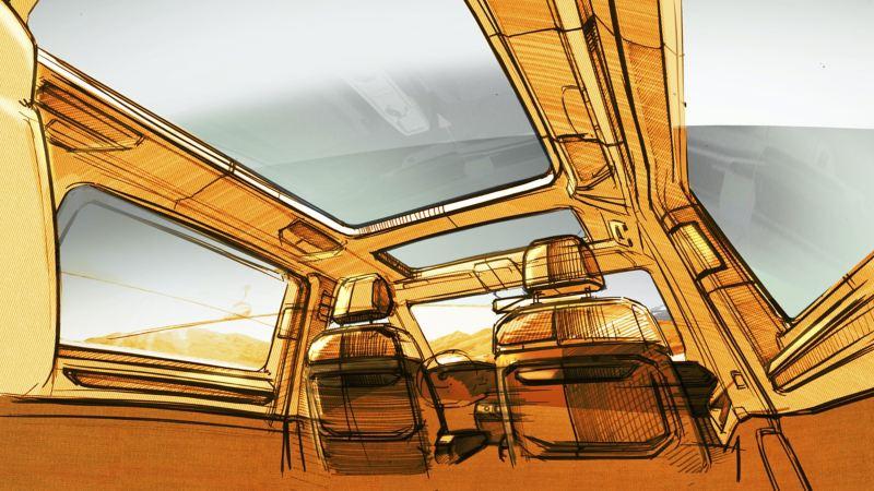 Un croquis du système de sièges à bord du nouveau VW Multivan.