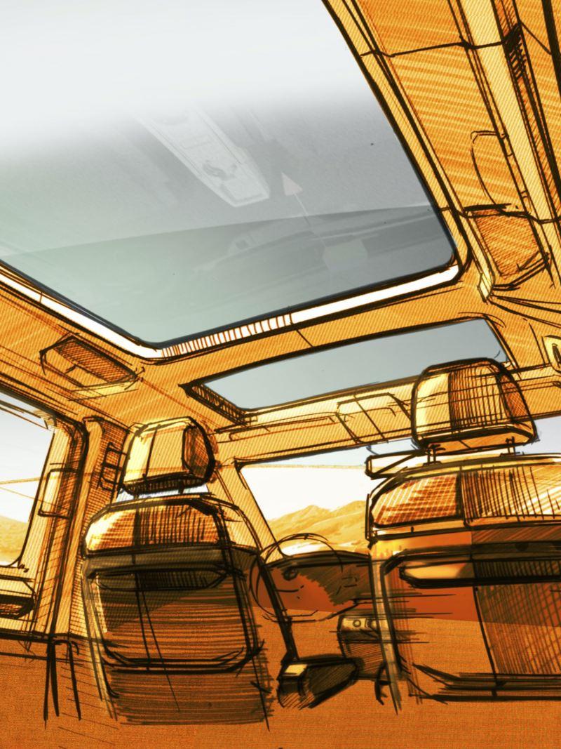 Bildet viser en designskisse av det nye sittekonseptet på den nye Volkswagen Multivan ladbar hybrid